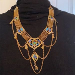 Jewelry - Stunning gold and enamel Egyptian style necklace